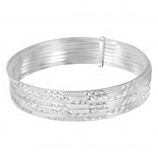 Wholesale Sterling Silver 925 High Polished Diamond Cut Semanario Bangle Bracelet - BG136