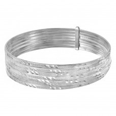 Wholesale Sterling Silver 925 High Polished Diamond Cut Semanario Bangle Bracelet - BG138