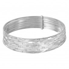 Wholesale Sterling Silver 925 High Polished Diamond Cut Semanario Bangle Bracelet - BG139