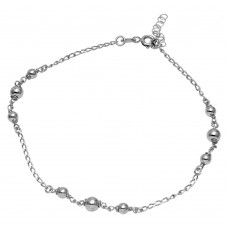 Sterling Silver Rhodium Plated Trio Bead Design Anklet - SOA00001