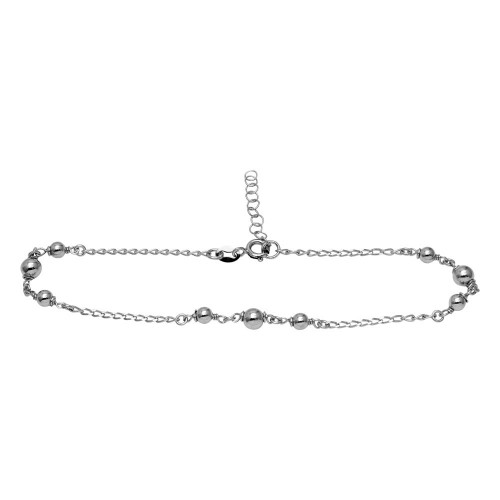 Wholesale Sterling Silver 925 Rhodium Plated Trio Bead Design Anklet - SOA00001