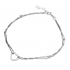 Sterling Silver Rhodium Plated Double Strand Open Heart Anklet - SOA00002