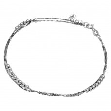 Sterling Silver Rhodium Plated Double Strand Bead Anklet - SOA00003