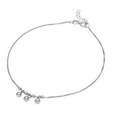 Sterling silver Rhodium Plated Dangling Three Bead Anklet - SOA00004