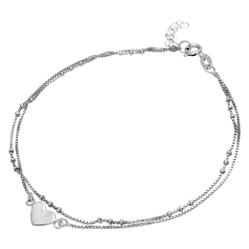 Wholesale Sterling Silver 925 Rhodium Plated Double Strand Heart Anklet - SOA00005