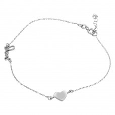 Sterling Silver Rhodium Plated Love & Heart Anklet - SOA00006