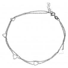 Sterling Silver Rhodium Plated Double Strand 5 Open Heart Anklet - SOA00007