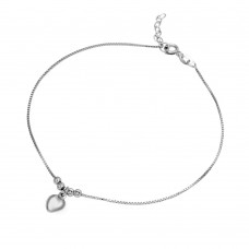 Sterling Silver Rhodium Plated Dangling Heart Anklet - SOA00008