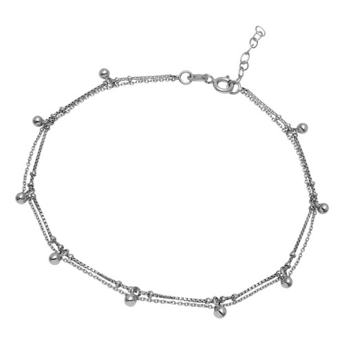 Wholesale Sterling Silver 925 Rhodium Plated Multi Bead Anklet - SOA00009