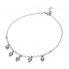 Sterling Silver Rhodium Plated 5 Dangling Bead Anklet - SOA00010