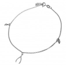 Sterling Silver Rhodium Plated Wishbone & Bead Anklet - SOA00011