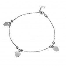 Sterling Silver Rhodium Plated Heart & Bead Anklet - SOA00012