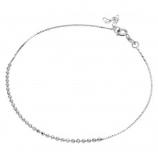 Sterling Silver Rhodium Plated DC Bead Anklet - SOA00013