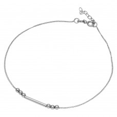 Wholesale Sterling Silver 925 Rhodium Plated Bar with Trio Bead Design Anklet - SOA00014