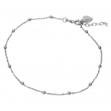 Sterling Silver Rhodium Plated DC Beads & Heart Anklet - SOA00015