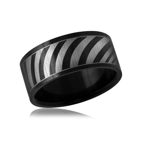 Wholesale Black Color Stainless Steel Band with Strip Design - SRB069