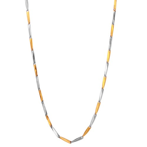 Wholesale Stainless Steel 2 Toned Gold Color Bullet Chain 2mm - SSC087GP