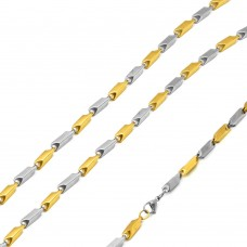 Stainless Steel Gold And Steel 2 Toned Bullet Chain 3mm - SSC088GP