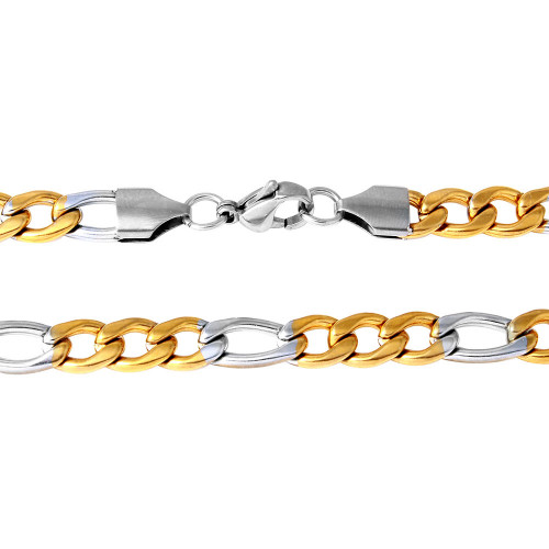 Wholesale Stainless Steel Two Toned Figaro Chain Link 6.8mm - SSC089GP