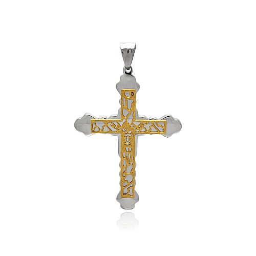 Wholesale Stainless Steel Gold Plated Jesus Outline Cross Charm Pendant - SSP00433
