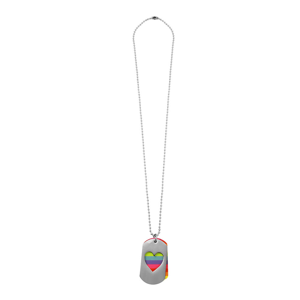Wholesale Stainless Steel Double Dogtag with Heart and Pride Color Necklace - SSP00507
