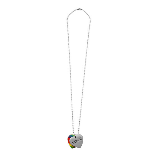 Wholesale Stainless Steel Double Heart with Love and Pride Color Necklace - SSP00508
