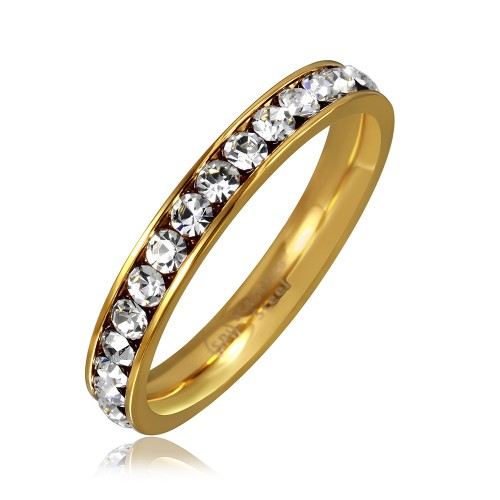 Wholesale Stainless Steel Gold Color CZ Eternity Band - SSR15GP