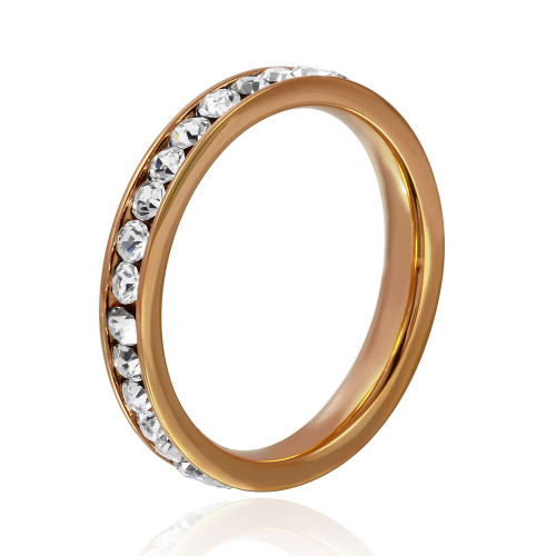 Wholesale Stainless Steel Rose Gold Color CZ Eternity Band - SSR15RGP