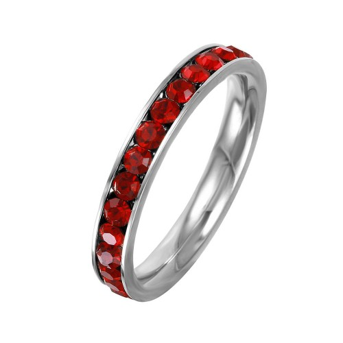 Wholesale Stainless Steel CZ Eternity Band January - SSR15JAN
