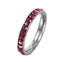 Wholesale Stainless Steel CZ Eternity Band July - SSR15JUL