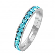 Wholesale Stainless Steel CZ Eternity Band March - SSR15MAR