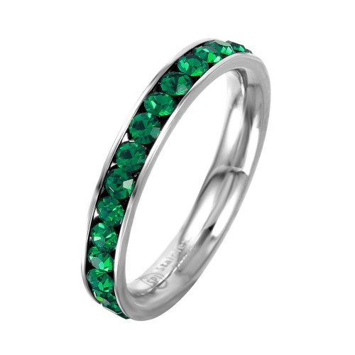 Wholesale Stainless Steel CZ Eternity Band May - SSR15MAY