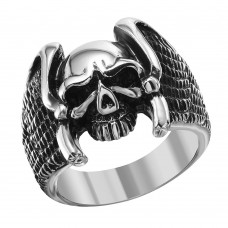 Wholesale Men's Stainless Steel Eagle Wings Skull Ring - SRN039