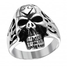 Wholesale Men's Stainless Steel Skull Ring - SRN045