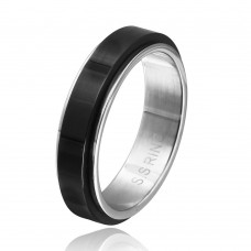 Wholesale Stainless Steel Back Color Spinner Ring - SRN073BLK