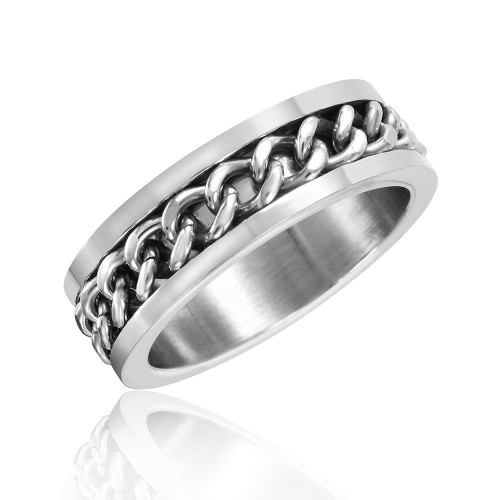 Wholesale Stainless Steel Curb Chain Ring - SRN076-9