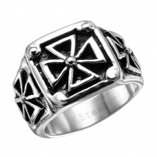 Wholesale Men's Stainless Steel Multi Iron Cross Ring - SRN017
