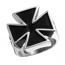Wholesale Men's Stainless Steel Large Cross Ring - SRN040