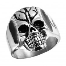 Wholesale Men's Stainless Steel Cracked Skull Ring - SRN041