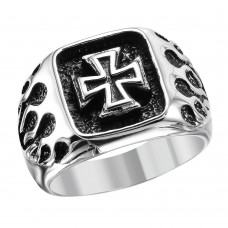 Wholesale Men's Stainless Steel Cross Center Fire Sides Ring - SRN042