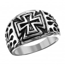 Wholesale Stainless Steel Flaming Cross Ring - SRN047
