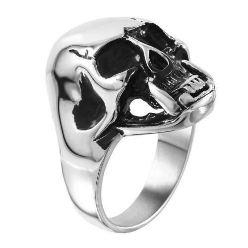 Wholesale Men's Stainless Steel Large Cracked Skull Ring with Fangs - SRN051