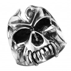 Wholesale Men's Stainless Steel Large Skull Canine Teeth Ring - SRN054