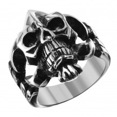 Wholesale Men's Stainless Steel Demon Skull Ring - SRN057