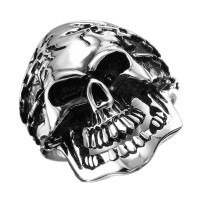 Wholesale Men's Stainless Steel Skull and Chains Ring - SRN060