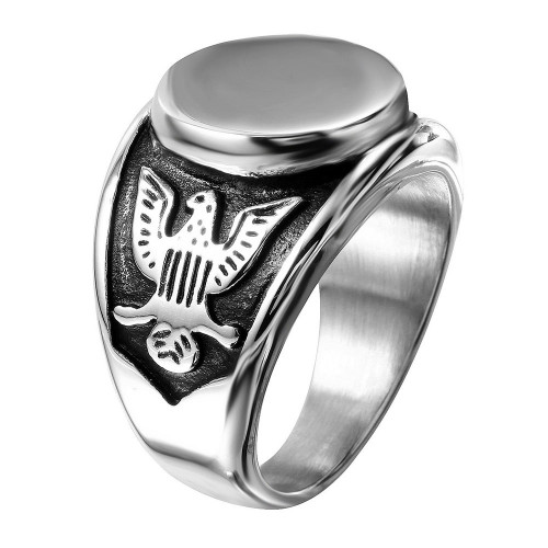 Wholesale Stainless Steel Engravable Center Ring with Eagle Carved Shank - SRN064