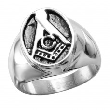 Wholesale Stainless Steel Freemason Oval Ring - SRN074