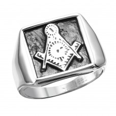 Wholesale Stainless Steel Freemason Square Ring - SRN075
