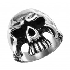 Wholesale Men's Stainless Steel Large Skull Ring - SRN056