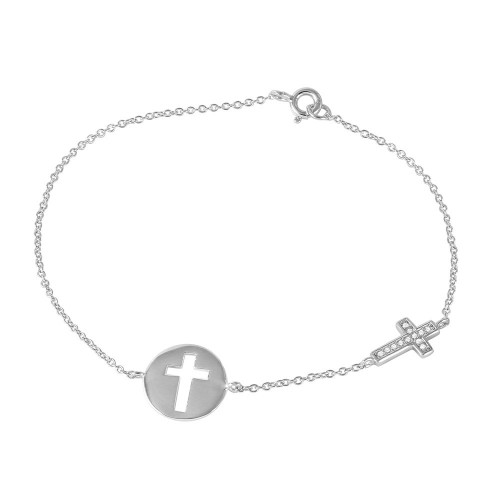 Wholesale Sterling Silver 925 Rhodium Plated Cross and Disc Charm Bracelet - STB00498
